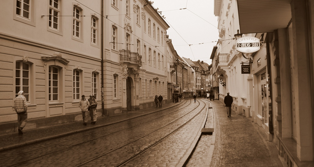 Rustic scene walking around in the rain in Freiburg, Germany.