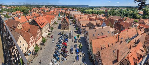 Blick vom Turm der Johanniskirche nach Osten auf den Marktplatz