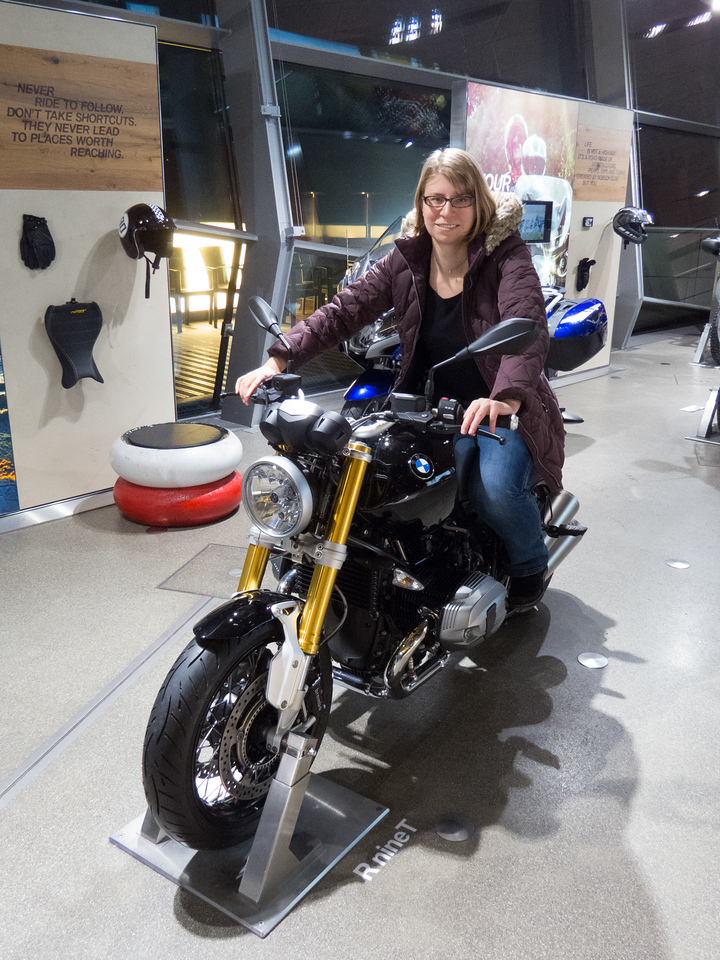Motorcycle Julia at the BWM Welt