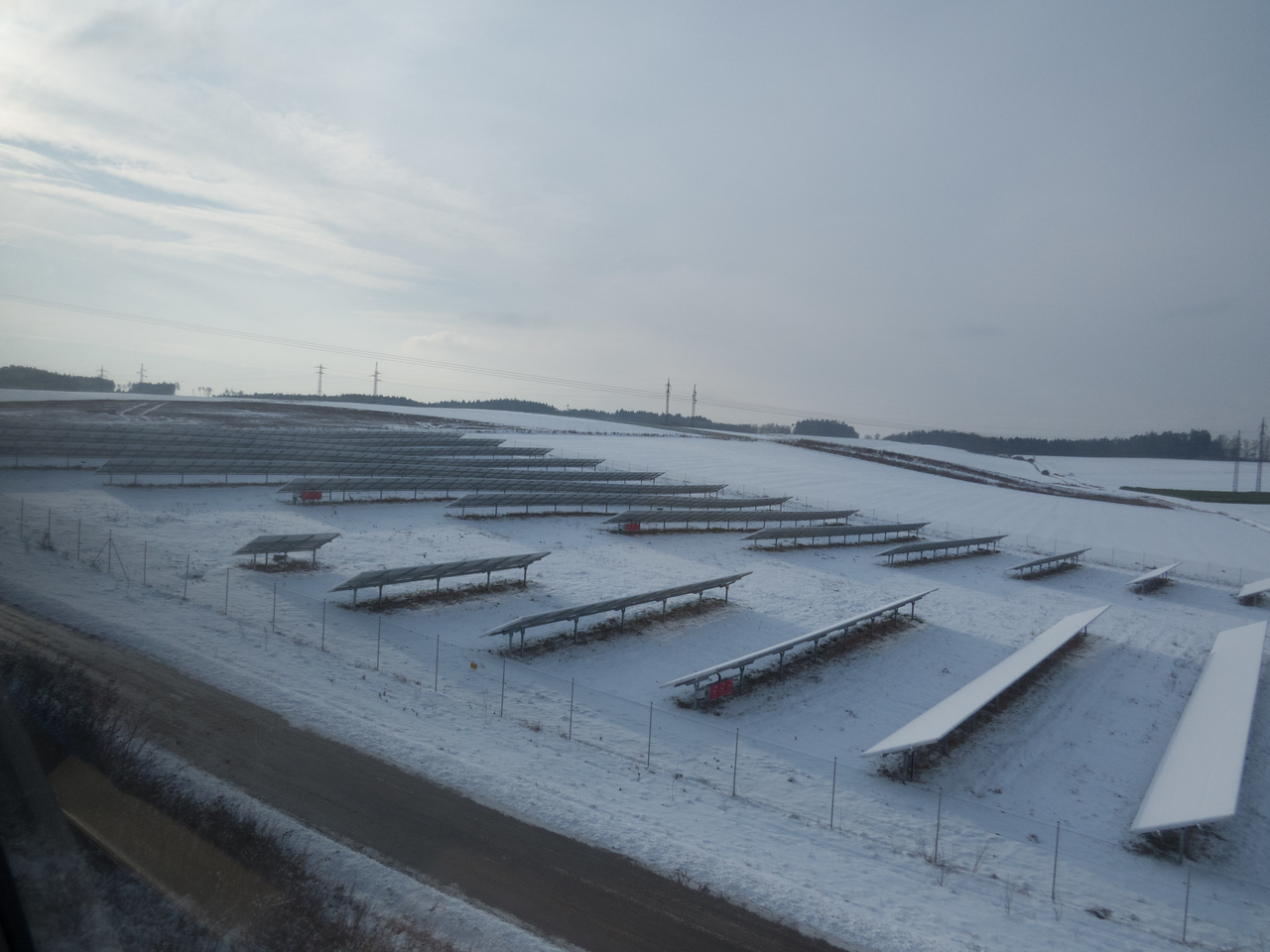 Snow covered solar farm