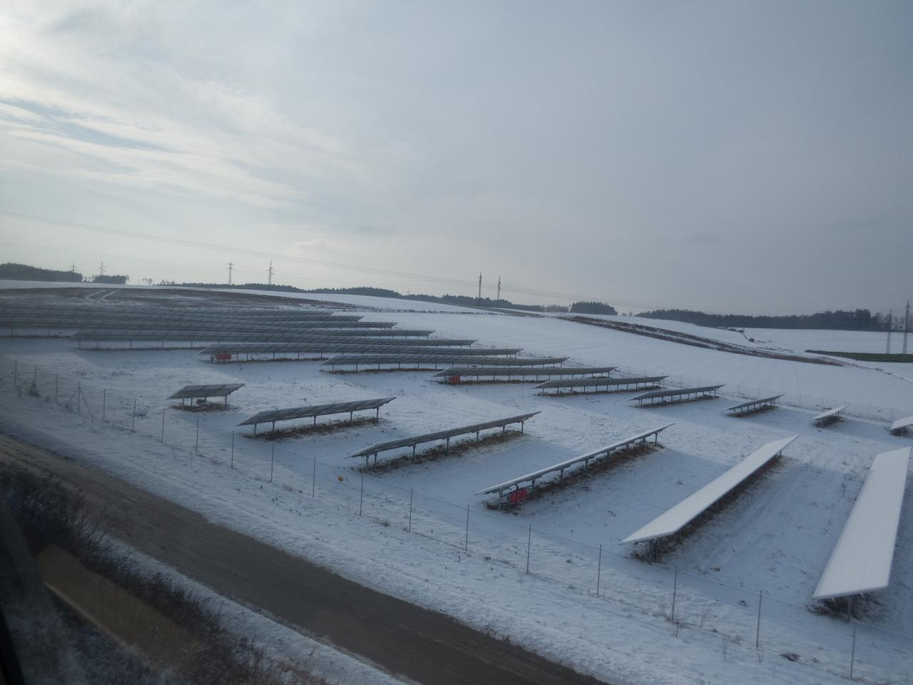 Snow covered solar farm