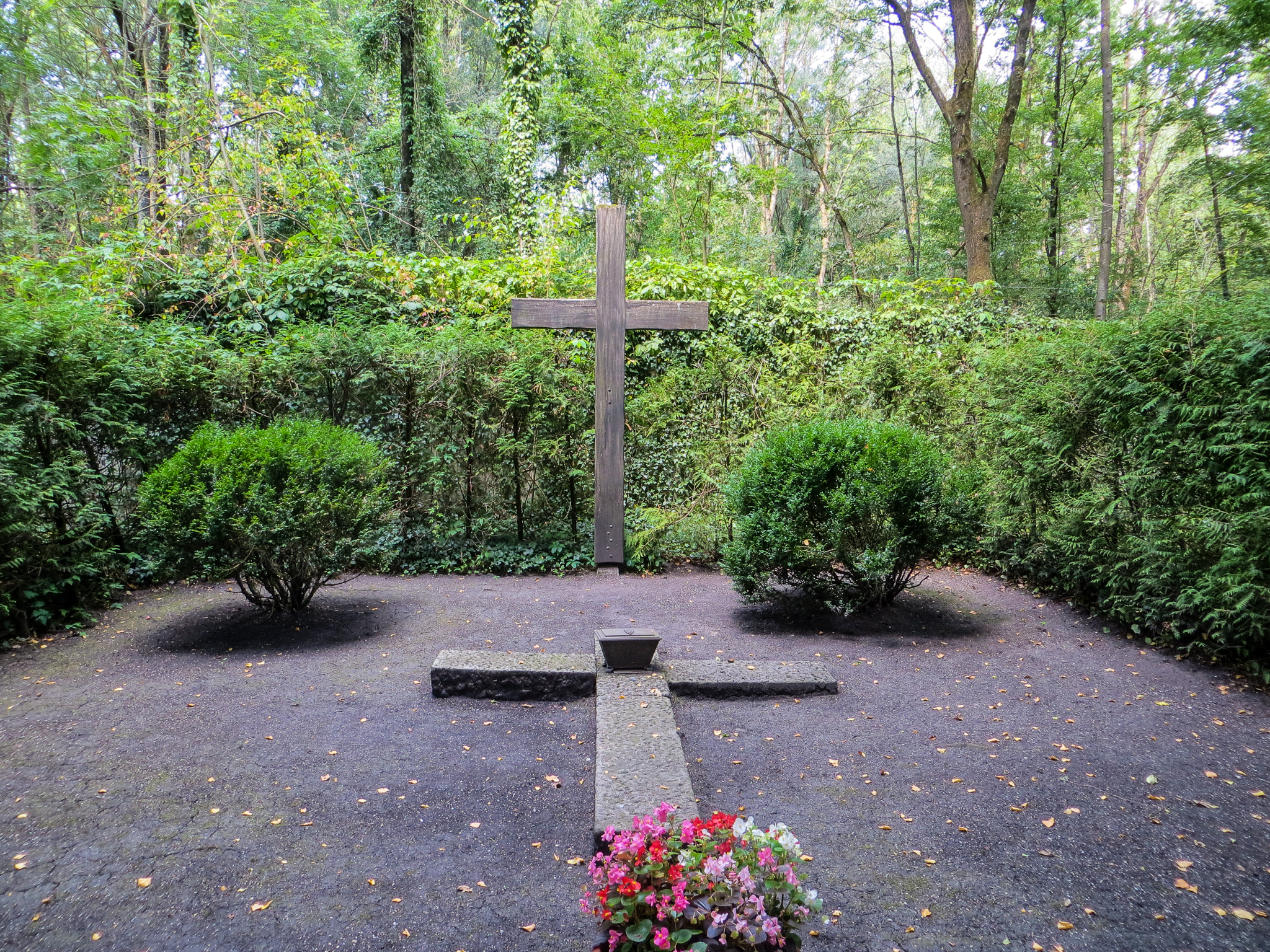 dachau from munich: cross in remembrance