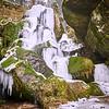 Der gefrorene Lichtenhainer Wasserfall im Kirnitzschtal, Sächsische Schweiz
