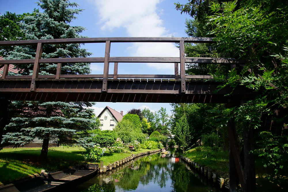 A pedestrian bridge we encountered while punting in Spreewald, Germany