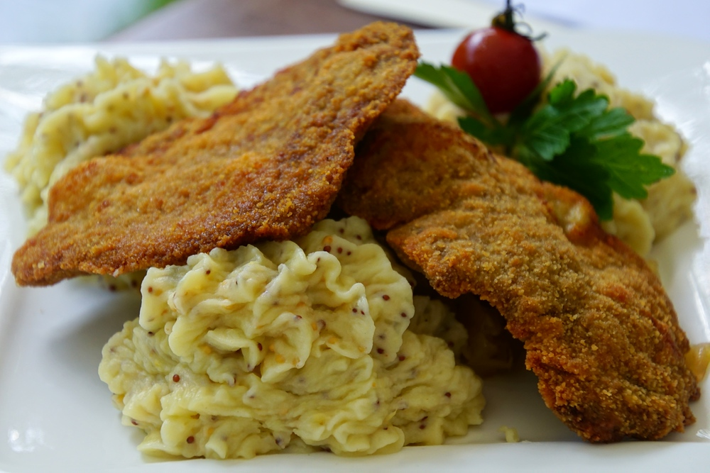 Delicious German schnitzel and mashed potatoes for dinner in Spreewald, Germany