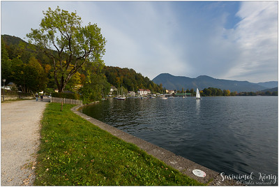 Tegernsee, lake Tegern in the evening