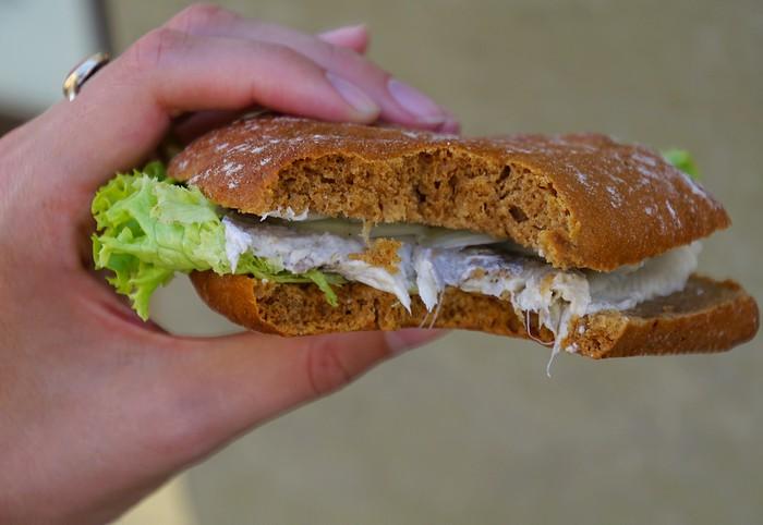 Bismark Herring sandwich in Stralsund, Germany