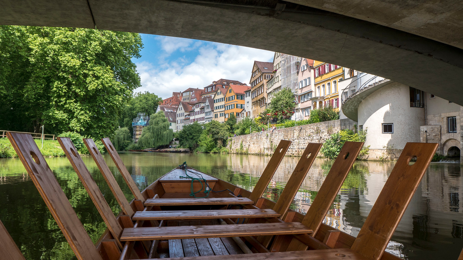 Punting trip on the Neckar River. Things to do in Tubingen Germany.