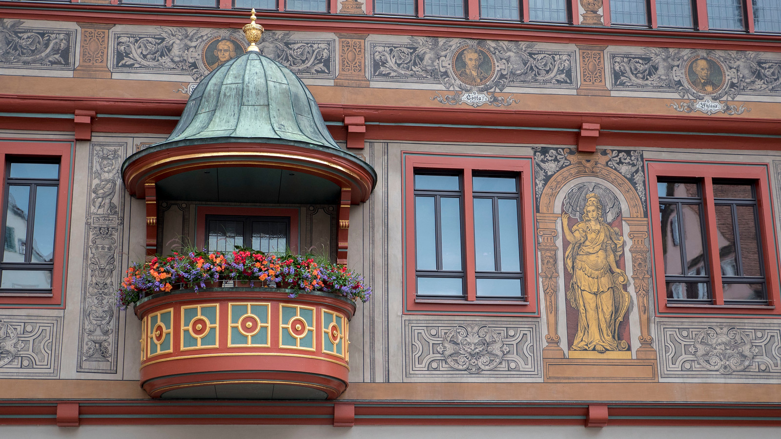 Intricate designs on the Rathaus in Tubingen. Things to do in Tubingen Germany.