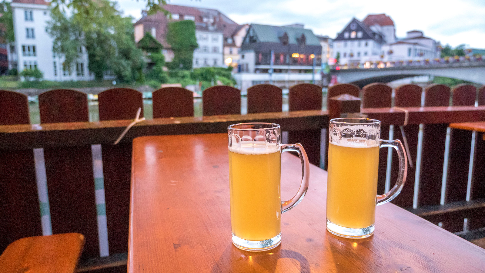 Beer at the beer garden in Tubingen. Things to do in Tubingen Germany.