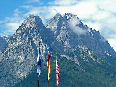 Zugspitz with Flags - Garmisch Germany 500 PPI