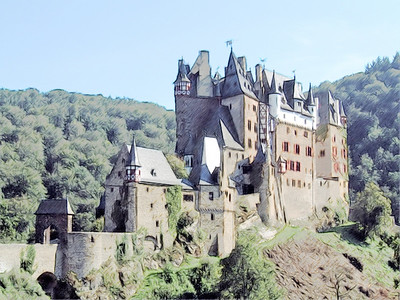 Burg Eltz - Sketch - Germany 500 PPI