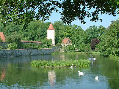 Dinklesbuhl Castle with Pond - Dinklesbuhl Germany 500 PPI