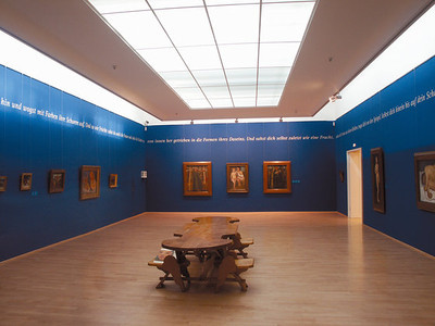 Interior of Paula Modersohn-Becker Museum in Bremen.