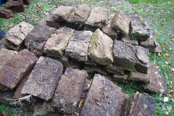 Peat bricks havested from the Devil's Moor.
