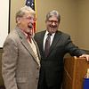 Gerry Martel and Fitchburg Mayor Stephen DiNatale have a good laugh at the Fitchburg Rotary Club meeting held at Great Wolf Lodge New England as they celebrated his 90th birthday. SENTINEL & ENTERPRISE/JOHN LOVE