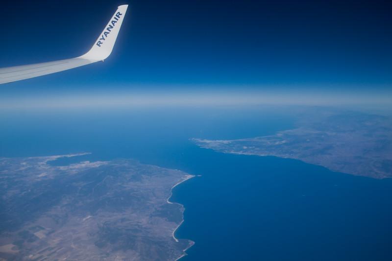 Strait of Gilbraltrar from Plane