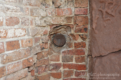 Shell embedded in wall at Fort Sumter