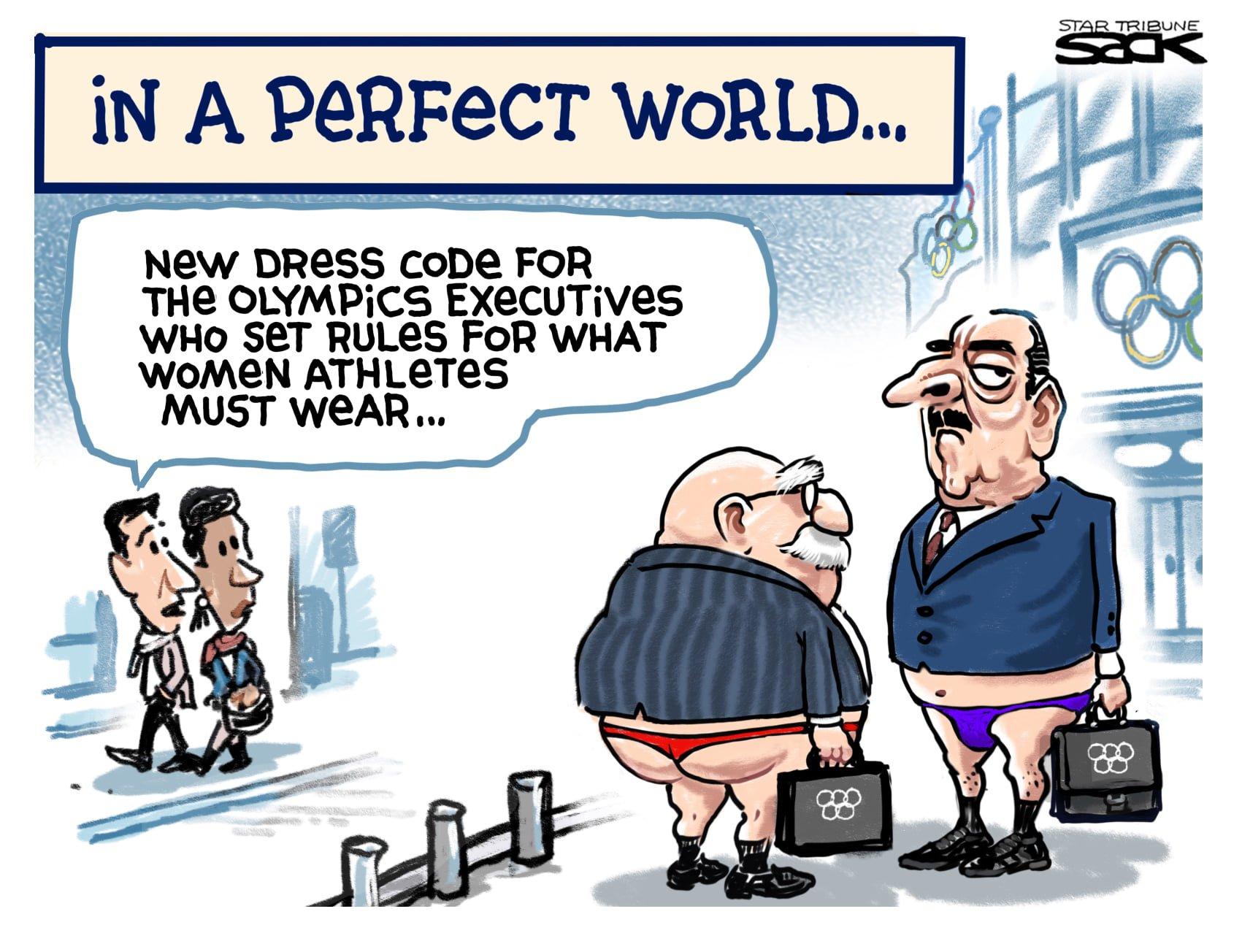 Editorial cartoon in the Star Tribune by Steve Sack: Olympics Dress Code (27 June 2021)