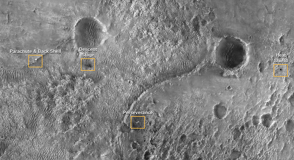 Perseverance and Mars 2020 Spacecraft Components on the Surface (nasa.gov, 22 Feb 2021)