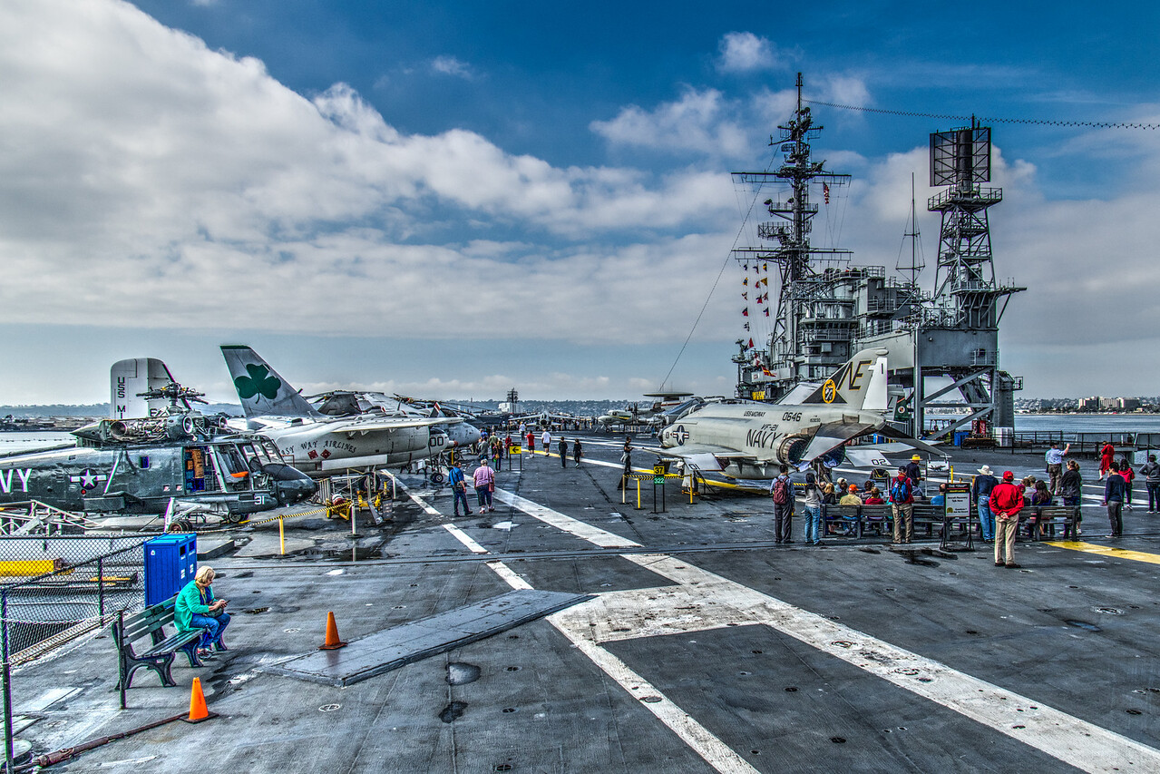 Aircraft on the flight deck of the USS Midway Museum.