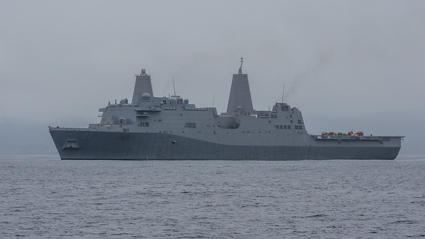 A grey ship on a grey day.  I believe this is the USS Green Bay LPD 20.