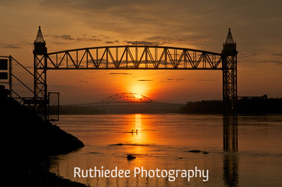 Ducks in the sunrise on the Cape Cod Canal...  Twice a year the rising sun can be seen between the two bridges.