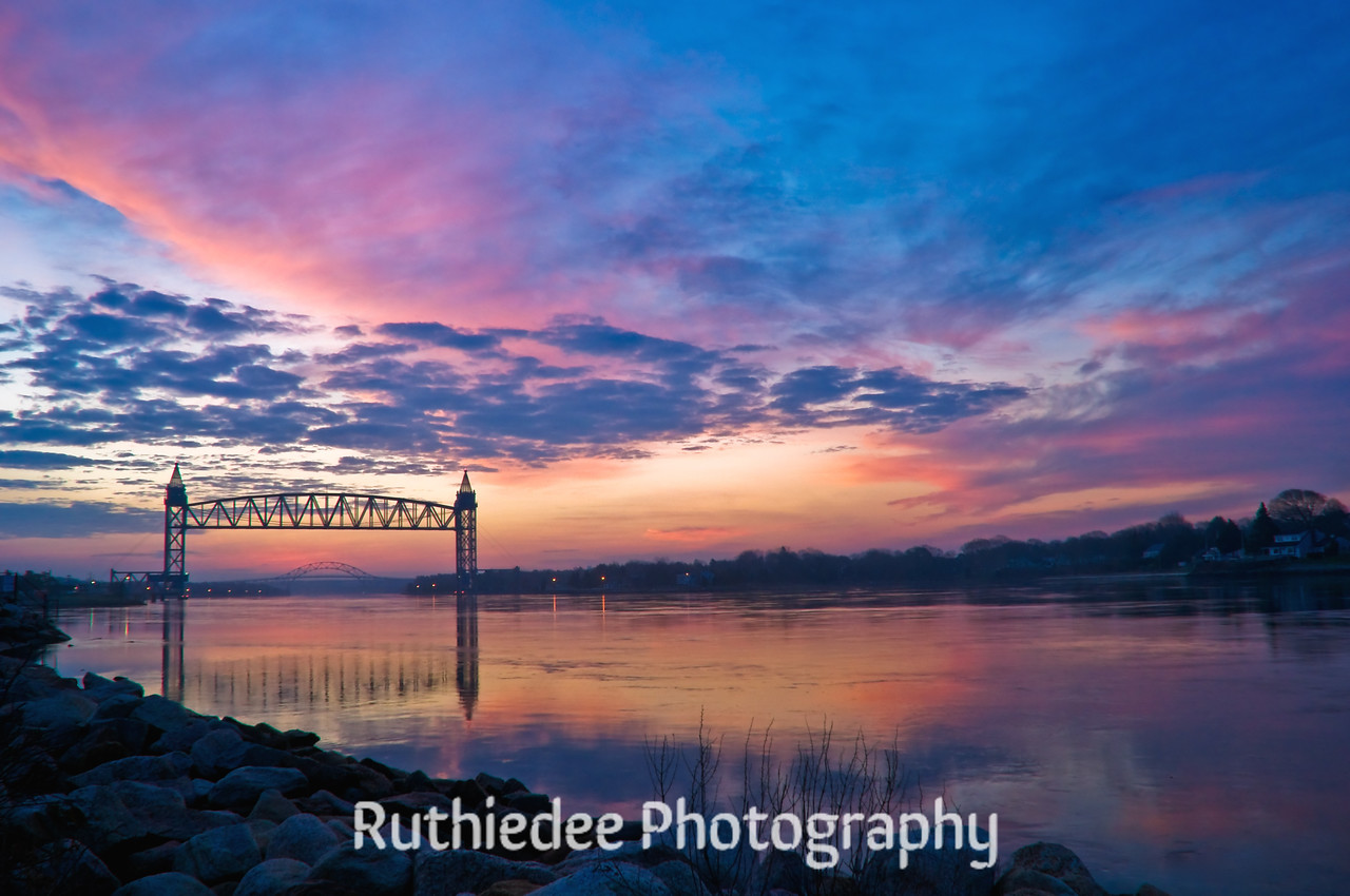 Before the rise... <br /> <br /> Cape Cod Canal showing the railroad bridge and the Bourne Bridge. Taken near Mass Maritime.