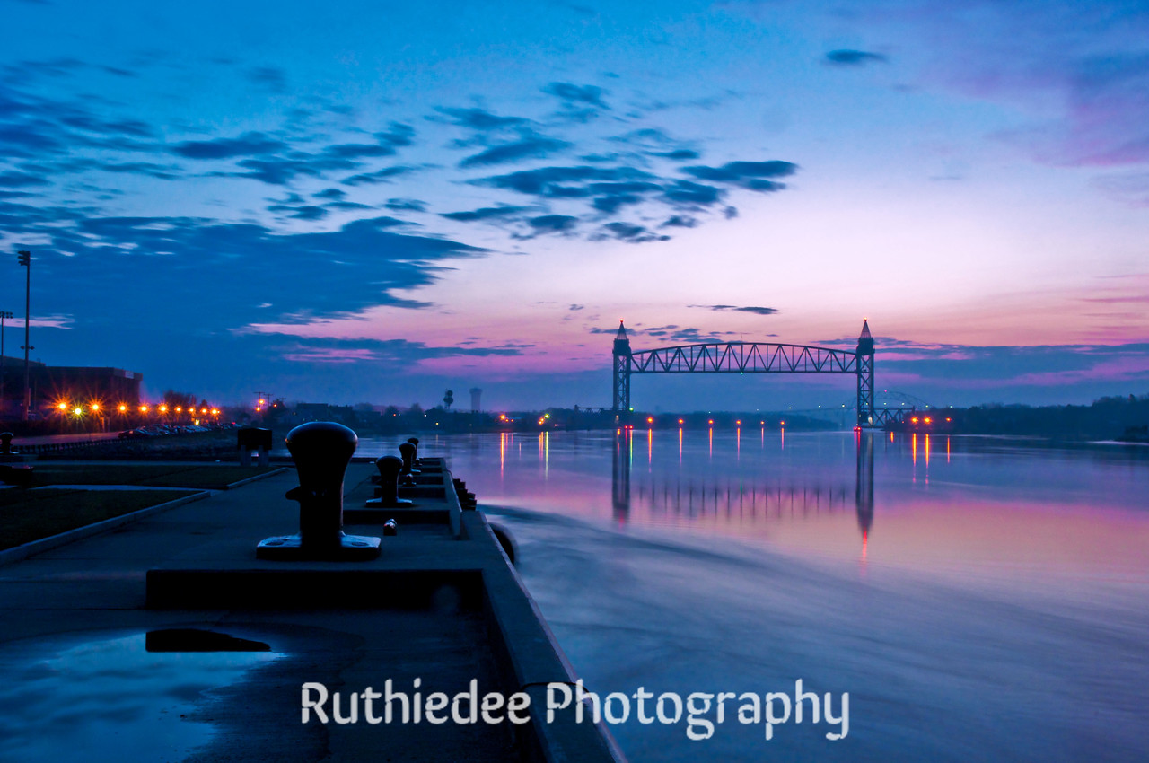 Looking east just before sunrise on the Cape Cod Canal...