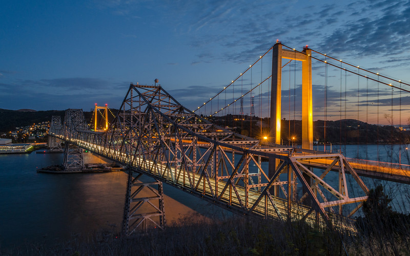 The Carquinez Bridges…1958 Eastbound and 2003 Westbound.  This is a bit of a challenging shot for me….the older bridge is unlit and both span the Carquinez Strait with steep cliffs on both sides.  Looking for a little Blue Hour magic this time to improve upon my last shot of these  ;-)