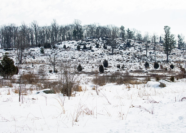 Little Round Top: it was the scene of heavy fighting on the second day of the three-day battle, during which Federal troops repulsed repeated charges by Confederates.  In the foreground is a marshy area of some 40 acres, extending from Devil's Den and the Round Tops to Hauck Ridge, that came to be known as the Valley of Death.