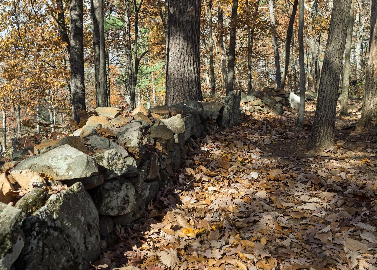 Defense Line: stones piled along Little Round Top's southern end mark the area where Union soldiers led by Col. Joshua Chamberlain repulsed waves of Confederate attacks over two hours on the second day of the battle. Their success saved the Union line.