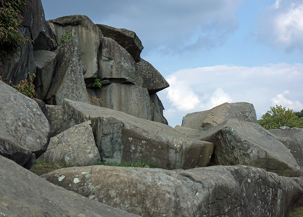 Devil's Den: this hill of giant boulders, is below Little Round Top.  On the 2nd day of the Battle of Gettysburg, troops from both sides took turns occupying it.  It proved impractical for artillery but was effective cover for infantry, especially snipers.