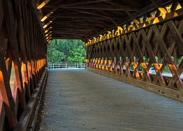 Interior of Sachs Covered Bridge shows the distinctive truss framework.  Retreating Confederates hanged three soldiers at the bridge as spies for the Union.