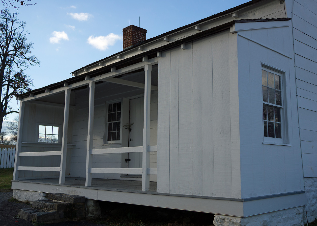 Union Base: the two-room farmhouse of Lydia Leister, close behind the Federal line on Cemetery Ridge, became Gen. George Meade's headquarters during the battle.  On the night after the second day of fighting, he had a war council with his top commanders in the room on the right.  The decision they reached was to stay and fight.