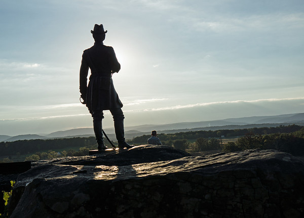 Union Hero: a statue of Gen. Gouverneur K. Warren, who arranged the hasty defense of Little Round Top on the second day of the three-day Battle of Gettysburg.  Seven Federal soldiers were killed around the rock on which the statue rises.