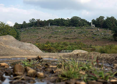 Rebel View: Little Round Top, seen from the boulders of Devil's Den. Most Confederates knew it simply as the Rocky Hill.
