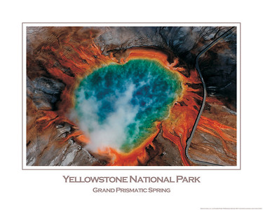 Yellowstone National Park Aerial Photograph of the Grand Prismatic Spring by Jim R Harris Photography. This is a 16x20 Poster. If you are interested in ordering, contact me directly: 406-581-7777 or jrharris3@gmail.com