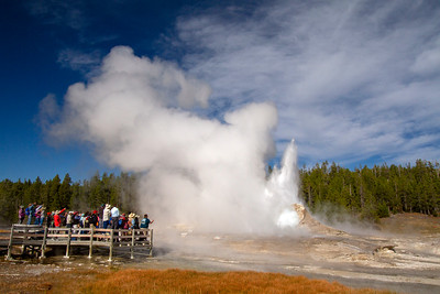 Mastiff Geyser  with Giant Geyser starting, 9.1.18, Upper Geyser Basin