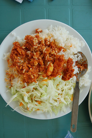 I forgot what this was called, but it was scrambled eggs and red sauce over rice and raw cabbage. Red sauce is a big thing in Ghana. I resisted the urge to tell our cook how to saute that cabbage in a little oil and water. My experience was about acceptance...not control.