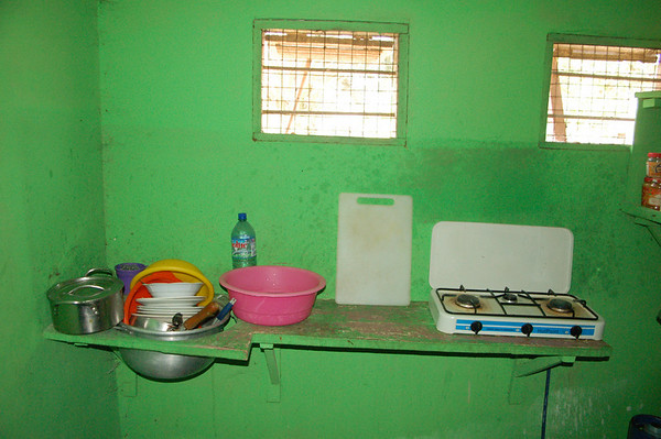 The kitchen. What is not shown here is the large trashcan of water that was used to wash the dishes.