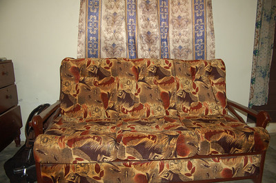 My sofa...the upholstery done by the owner's (Johnny) mother.