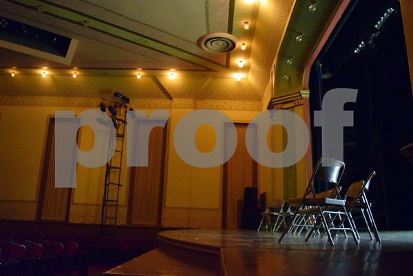 Folding chairs line the stage of the Sandwich Opera House, 140 E. Railroad St. in Sandwich, during a paranormal investigation led by MidWest Ghost Society for 30 members of the public.