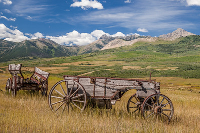 Old wagons on the Waterton Front, Alberta, Canada
