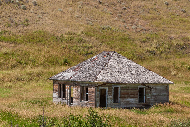 Old home on ranchland in northern Gallatin County, Montana.