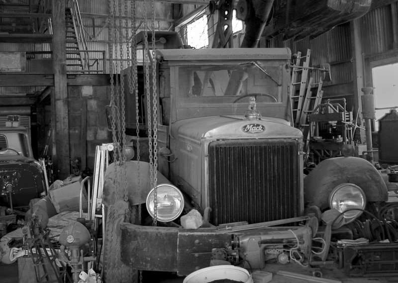 1933 chain drive Mack truck in the process of being restored.