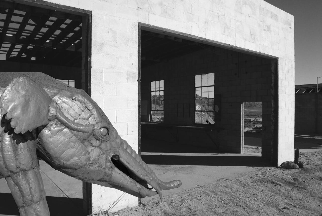 The building just needed a little excitement with the addition of the elephant. (Courtesy of Galleta Meadows, Borrego Springs & CS3)