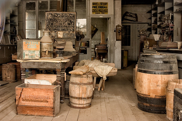 Detail, interior of Boone Store & Warehouse, Bodie. Many of the buildings still have the contents that were left behind by the original owners. Overall, the town has the appearance that the people just disappeared overnight.