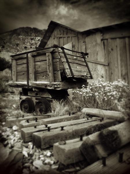 Ore cart and William Crapo house, Cerro Gordo.