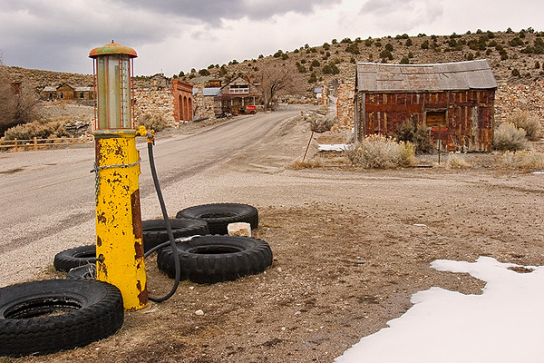 About 40 miles north of Tonopah, Belmont has no modern facilities. There are no electrical or telephone lines connected to the town, and no community water supply. All current residents rely on generators and solar power. The main road through town is lined by the remains of the buildings from the late 1800's